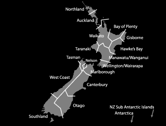 NZ regions photos map