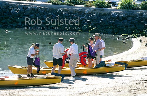 Tourists hiring Sea Kayaks on the Picton waterfront, Picton, Marlborough District, Marlborough Region, New Zealand (NZ) stock photo.