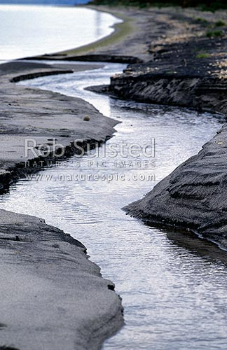Small creek entering Lake Taupo, Taupo, Taupo District, Waikato Region, New Zealand (NZ) stock photo.
