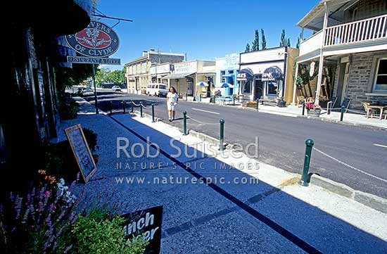Historic Buildings in main street of Clyde, Clyde, Central Otago District, Otago Region, New Zealand (NZ) stock photo.