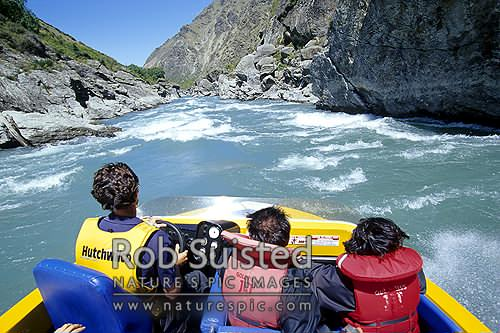 Exciting Goldfields Jetboat ride in the Kawarau River Gorge, Cromwell, Central Otago District, Otago Region, New Zealand (NZ) stock photo.