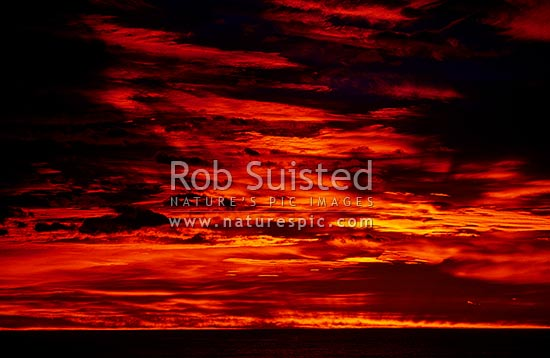 Dramatic morning sky with a brewing NW storm clouds, Kaikoura, New Zealand (NZ) stock photo.