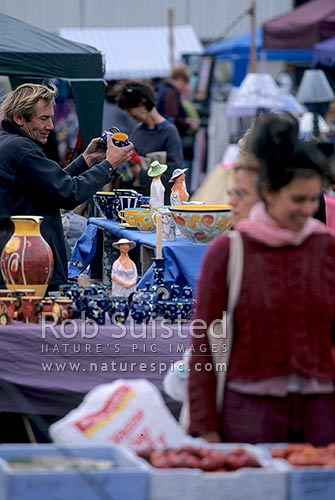 Nelson's well known Saturday morning market in the city centre, Nelson, Nelson City District, Nelson Region, New Zealand (NZ) stock photo.