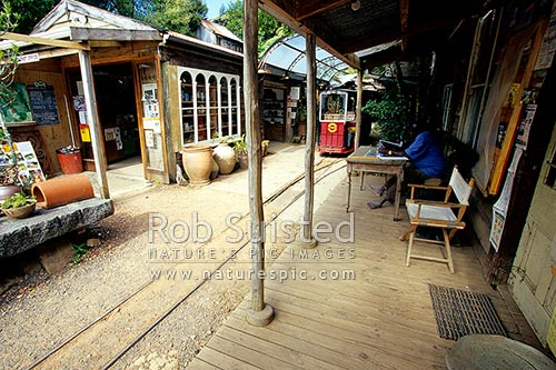 Driving Creek Railway and Potteries created by Barry Brickell. Extensive narrow gauge railway, Coromandel, Thames-Coromandel District, Waikato Region, New Zealand (NZ) stock photo.