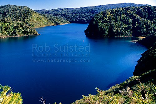 Boat fishing on Lake Waikaremoana, Te Urewera National Park, Wairoa District, Hawke's Bay Region, New Zealand (NZ) stock photo.