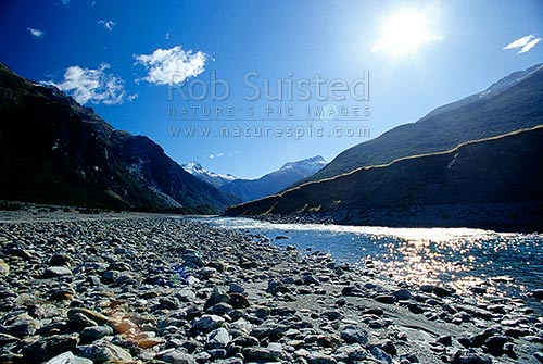 Looking up the Wilkin River to Mount (Mt) Aeolus (2301m), Makarora, Queenstown Lakes District, Otago Region, New Zealand (NZ) stock photo.