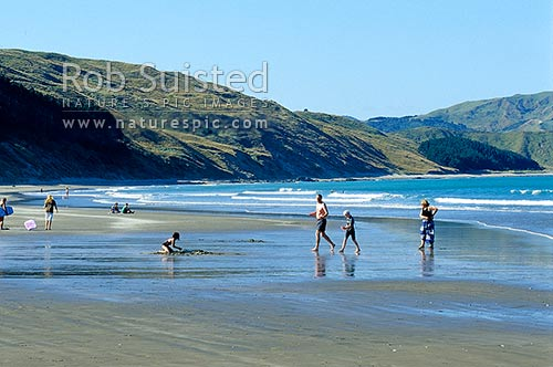 A family swimming and playing on Castlepoint Beach, Castlepoint, Masterton District, Wellington Region, New Zealand (NZ) stock photo.