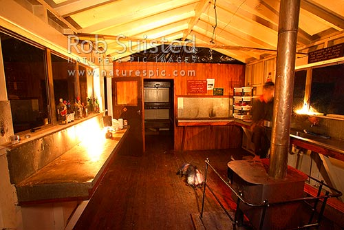 Interior of Kouanui tramping Hut, Te Waiiti Valley, Waimana Valley, Te Urewera National Park, Western Bay of Plenty District, Bay of Plenty Region, New Zealand (NZ) stock photo.