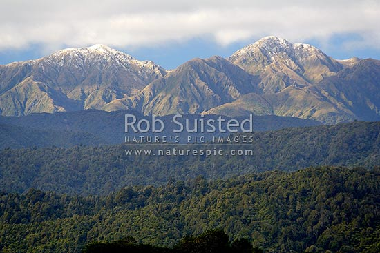 Snow on the Main Range - Dundas Ridge, of the Tararua Ranges. Viewed from Levin over low bush ridges, Tararua Forest Park, Horowhenua District, Manawatu-Wanganui Region, New Zealand (NZ) stock photo.