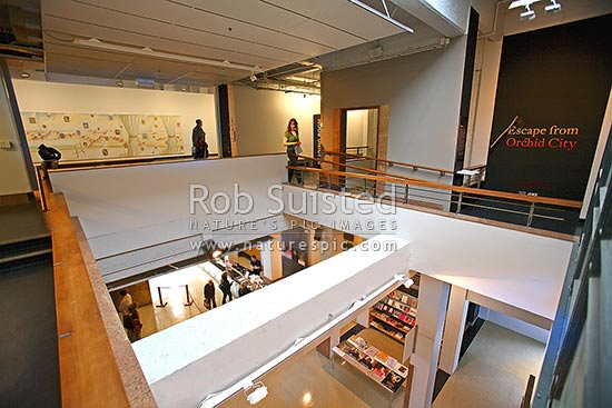 Inside the City Gallery Wellington (Te Whare Toi) in Civic Square - Wellington City Art Gallery, Wellington, Wellington City District, Wellington Region, New Zealand (NZ) stock photo.