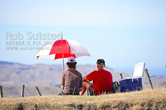 Summer picnic under umbrella. Man and woman enjoying summer lunch, Hastings District, Hawke's Bay Region, New Zealand (NZ) stock photo.
