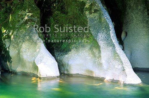 Limestone rock formations in the Fox River, Paparoa National Park, Buller District, West Coast Region, New Zealand (NZ) stock photo.