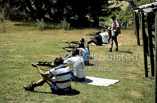 Target shooting - sitting position, Wanganui, Wanganui District, Manawatu-Wanganui Region, New Zealand (NZ) stock photo.