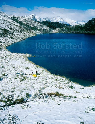 Tent camp in snow at lake Leeb (970m) on the Thomson Range, South Westland, Westland District, West Coast Region, New Zealand (NZ) stock photo.